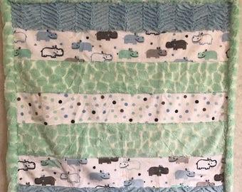 Baby Boy Hippo Cuddle Blanket