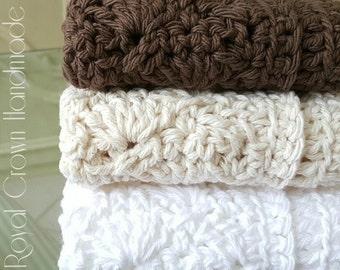 Crochet Cotton Washcloth,Knit Washcloth,Hand Knit Washcloth,Spa Wash Cloth,Crochet Baby Wash Cloth,Knit Baby Wash Cloth,Cream White Brown