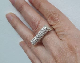 "Ring in silver, fingerprint pattern ""flower"""