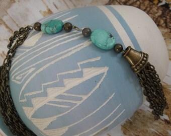 Southwestern Necklace - Western Necklace - Boho Necklace – Bronze Chain Necklace - Dangle Necklace - Turquoise Necklace – Pendant Necklace