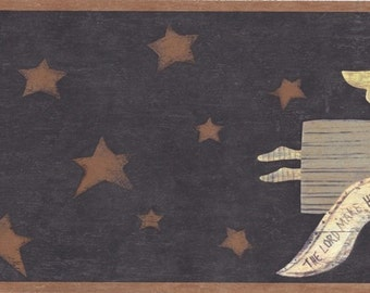 Gold Brown Stars Wooden Angels FF61154 Wallpaper Border