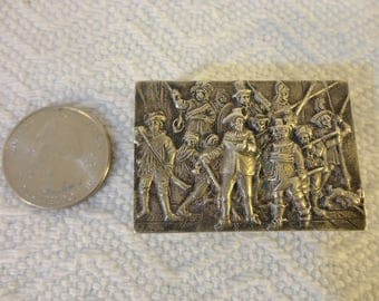 Sterling Silver Match Box Cover - Antique and Vintage Three Muskateers Theme