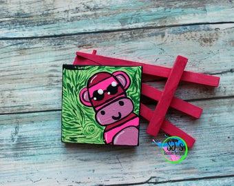 Sock Monkey mini canvas painting, Sock monkey Decor, Sock Monkey gift, Sock Monkey painting, Gift for Sock Monkey Lover, Sock Monkey Gift,