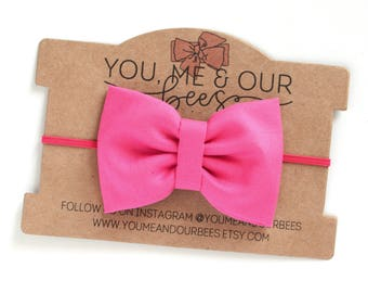 Pink Fabric Bow Headband; Hot Pink fabric bow on a skinny pink elastic headband; Baby Headband, Pink Headband; Pink Bow