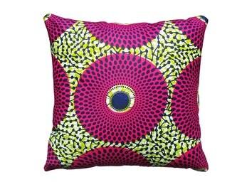 Ankara African Wax Print Fabric Pillow Covers Pink & Green 100% Cotton
