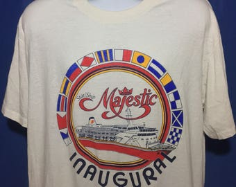 Vintage paper thin soft 1989 Inaugural Majestic Cruise ship t shirt *L/XL