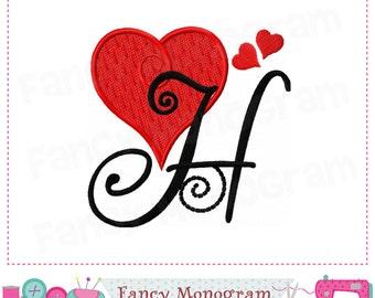 Valentine heart Monogram H applique,Heart Letter H applique,H,Valentine's day,Font H,Alphabet,Valentine heart,H,Birthday Letter H.-1755