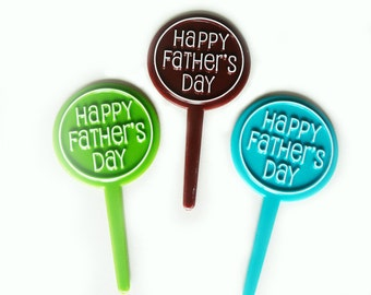 24 Happy Father's Day Round Cupcake Picks Cake Toppers Party Supplies