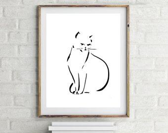 Minimalist print, Cat Art Print, black and white modern wall art, cat art, print of ink drawing