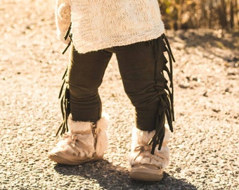 Baby Fringe leggings, boho fringe leggings, girls leggings, come in different colors