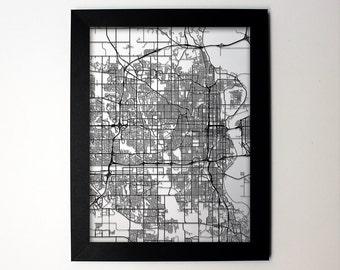 Omaha Nebraska Laser Cut Map, Omaha NE Street Map, Map of Omaha, Omaha Map Art, Wall Art, Omaha Wedding, Omaha Decor, Omaha Gift