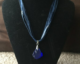 Blue Ribbon Necklace with Blue Rock Pendant
