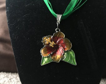 Green Ribbon Necklace with Flower Pendant