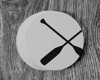 Crossed Oars Silhouette - Letterpress Hand Printed Round Coaster - Set of 10 Coasters