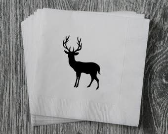 Deer Silhouette - Foil Stamped Hand Printed 3-ply Napkins - Set of 10