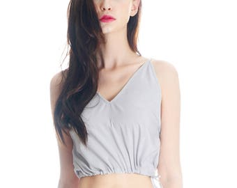 Lolita Halter Top Silk Shirt Crop Top Women Pajamas Sleepwear Vest Top* White Grey