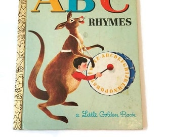 Vintage Little Golden Book ABC Rhymes 1964 - Retro ABC Book - Easy Reader - Learning to Read - Storybook - LGB - B Edition