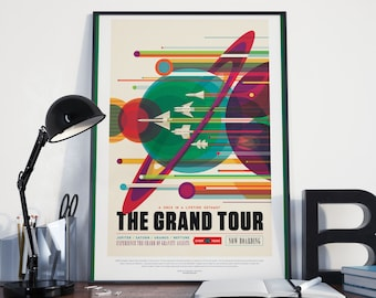 Space Travel Poster - NASA Art Print, Space Exploration Poster, Retro Futuristic Look