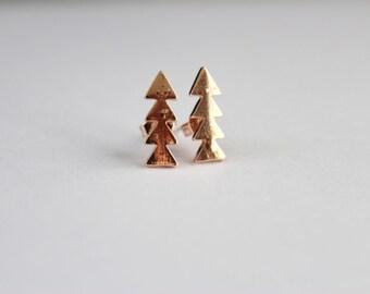Pine tree earrings, geometric earrings, Tree earrings, nature earrings, tree stud earrings, gift for her