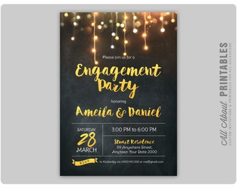 Engagement Party Invitation. Engagement Dinner Invite. Fairy Light, Gold Glitter, Glam, Chalkboard. DIY Printable Digital
