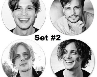"Set of 4 Matthew Gray Gubler Large 2.25"" Pinback Buttons or Magnets - Choose Your Favorite Set"
