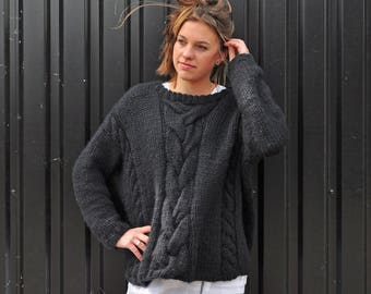 hand knitted, oversized, chuncky black sweater, free shipping