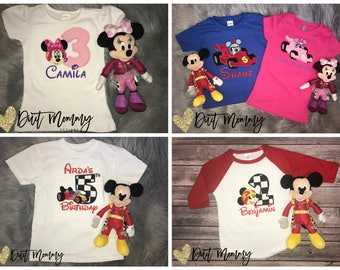 Mickey or Minnie Roadster Racer Birthday Party Shirt | Embroidered | Personalized with Name and Age | Applique | Custom