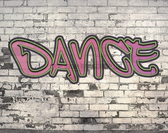 Graffiti Brick GBW003 - Graffiti Brick Dance 3 on Glare Free Vinyl 7' wide by 5' tall