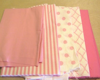 Light Pink Fabric Bundle, Remnant Fabric Bundle,  quilting fabric, craft fabric