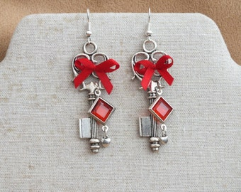 Red and silver earrings, key earrings, red earrings, red bow earrings