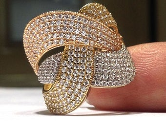 Genuine 14K Yellow, White and Rose Gold Ring with 2.50 carats Diamond Simulant