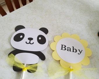 Panda centerpiece,Panda baby shower, Panda Its a girl centerpiece,  Its a girl centerpiece, its a girl decorations, seahorse