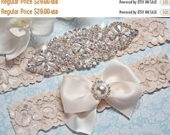 ON SALE Wedding Garter Set – Ivory Lace Bridal Garter with Crystals – Vintage Inspired Keepsake and Toss Garters – Rhinestone Garter