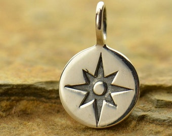 Sterling Silver Compass Rose Charm
