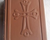 Leather-bound New Catholic Bible, Standard Edition, with debossed Byzantine Cross