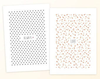 Set of 8 Heart Cards! Simple anniversary, wedding, or friendship cards - Love - Always - Heart notecards - Blank interiors - A5 notecard set
