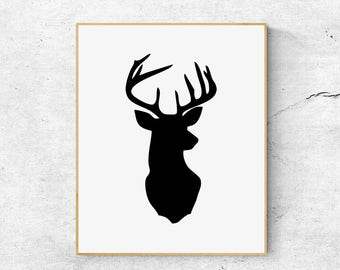 Deer head print, Scandinavian print, Animal print, Black and white print, Large wall art prints, Printable animal art, Minimalist print