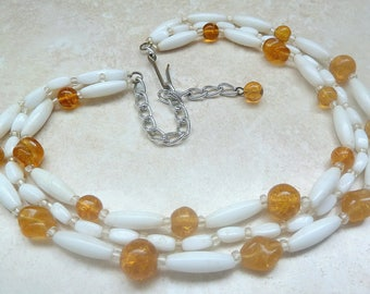Vintage Triple Stranded Milk Glass And Amber Bead 1950's Germany Necklace.