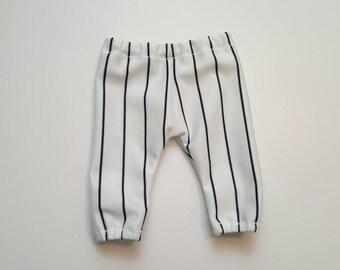 Baseball pants - photography prop - white and dark navy blue stripes - Yankees themed photo shoot - newborn through 3T
