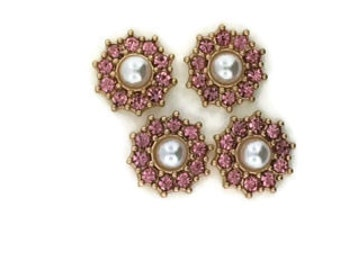 Pearl and Light Rose Crystal Floral Components (4 Pieces)