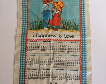 1978 Vintage Tea Towel Calendar burlap wall hanging