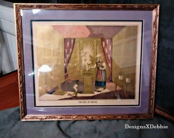 """vintage Holy Bible illustration framed, writing dates this piece to 1883, titled """"The Holy of Holies"""", Ark of the Covenant, Christian"""