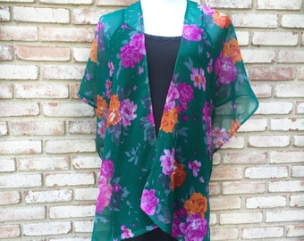 Kimono Cardigan, Teal Green Kimonos, Gift for Her, Boho Kimono, Festival Kimonos, Beach Coverup, Bohemian Flowers, Festival Wear, Boho Chic