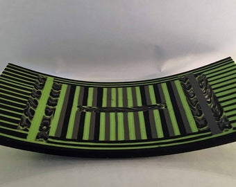 Unique Green, Black, Gray and Clear Fused Art Glass Tray