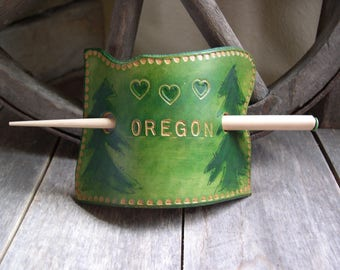 469  LEATHER hair slide, stick barrette, bun holder, ponytail, Oregon, state, Oregon shape, green, trees, wood stick, hair stick, hearts