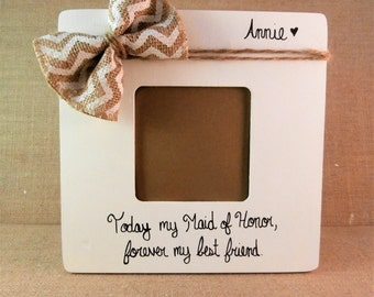 Maid of honor gift, personalized bridesmaid gift ideas chevron rustic wedding ideas