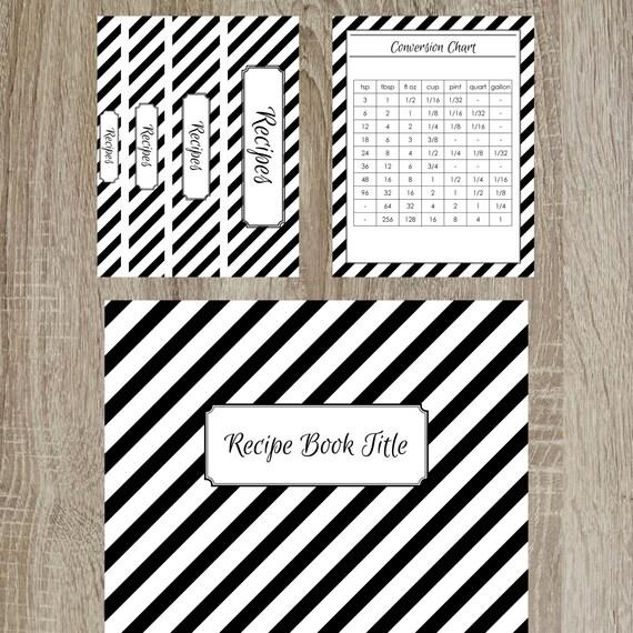 Diagonal Stripe Recipe Binder Kit Printable Recipe Binder