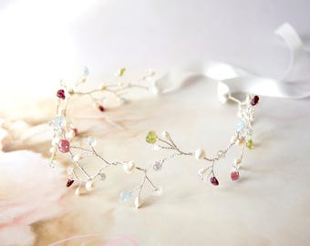 Bridal Pearl and beads Vine, Vine Hair Piece, Wedding hairpiece, Ready to ship
