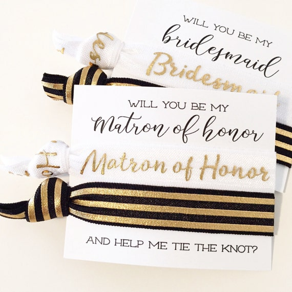 Bridal Party Proposal Hair Tie Gift | Modern Black White + Gold Foil Stripe Hair Ties, Bridesmaid Proposal Card Gift, Matron + Maid of Honor