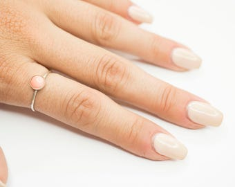 Pink Coral Ring- Sterling Silver Ring, Simple Ring, Dainty Ring, Statement Ring, Gemstone Ring, Stackable Ring, Unique Ring, Gift